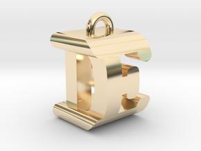 3D-Initial-DE in 14k Gold Plated Brass