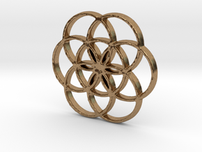 Seed of Life Circles 6-Petal Flower Pendant in Natural Brass