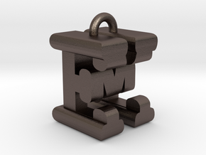 3D-Initial-EM in Polished Bronzed Silver Steel