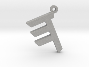 Letter HEH - Paleo Hebrew - With Chain Loop in Raw Aluminum