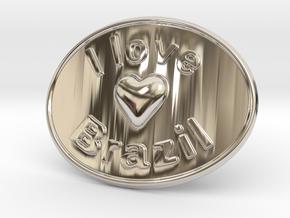 I Love Brazil Belt Buckle in Rhodium Plated Brass