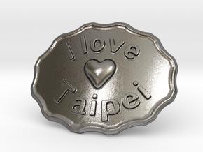 I Love Taipei Belt Buckle in Polished Nickel Steel