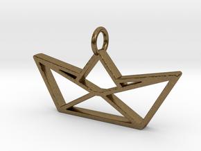 Paper Boat Pendant in Natural Bronze