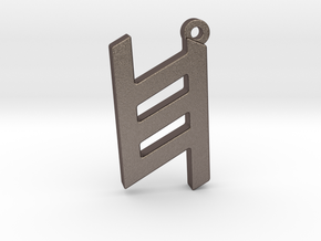Letter KHET - Paleo Hebrew - With Chain Loop in Polished Bronzed Silver Steel