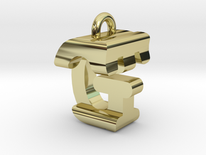 3D-Initial-GT in 18k Gold Plated