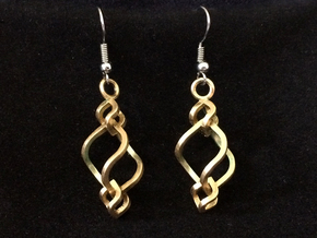 Swirled Cube Dangle II in Interlocking Raw Brass