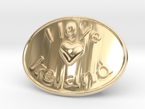 I Love Ireland Belt Buckle in 14K Yellow Gold