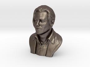 3D Sculpture of Johnny Depp in Polished Bronzed Silver Steel