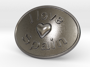 I Love Spain Belt Buckle in Polished Nickel Steel