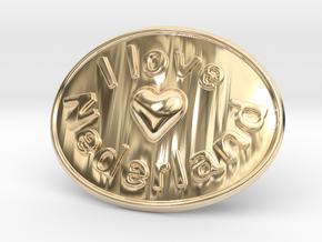 I Love Nederland Belt Buckle in 14K Yellow Gold