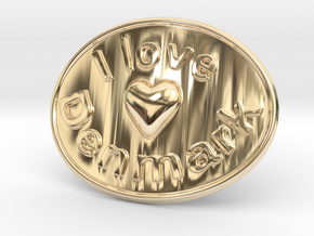 I Love Denmark Belt Buckle in 14K Yellow Gold
