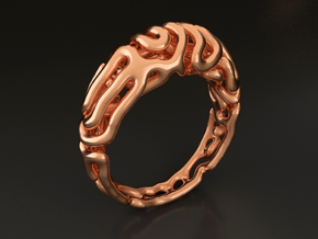 Reaction Diffusion Ring 5 (size 60) in 14k Rose Gold Plated