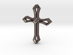 Cross Pendant in Polished Bronzed Silver Steel