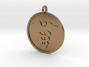 Caduceus Pendant in Natural Brass