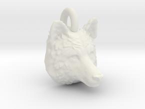 Wolf Head Pendant in White Natural Versatile Plastic