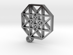 Hypercube Pendant in Polished Silver