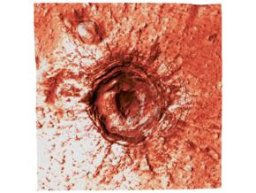 Mars Map: Crater in Phlegra Dorsa - Red in Glossy Full Color Sandstone
