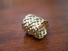 Full knuckle woven ring - Size 9 1/2 in Polished Brass