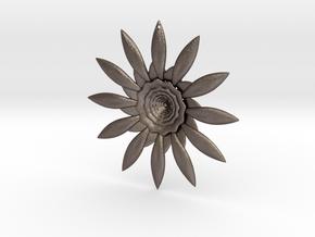 Fractal Flower Pendant VI in Polished Bronzed Silver Steel