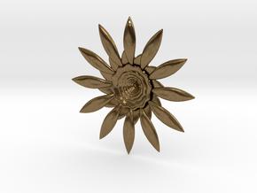 Fractal Flower Pendant VI in Natural Bronze