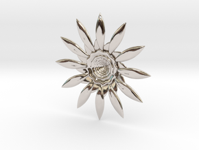 Fractal Flower Pendant VI in Rhodium Plated Brass