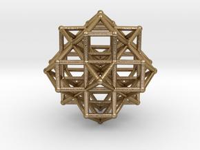 Vector Equilibrium Cluster 8VE 7Octa 50mm  in Polished Gold Steel