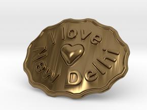 I Love New Delhi Belt Buckle in Polished Bronze