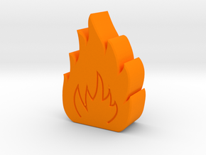 Small Fire Game Piece B in Orange Strong & Flexible Polished