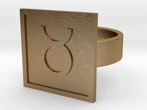 Taurus Ring in Polished Gold Steel: 10 / 61.5