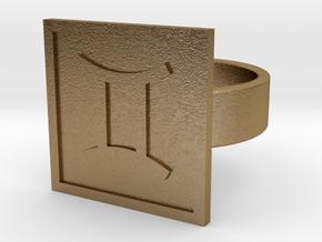 Gemini Ring in Polished Gold Steel: 10 / 61.5