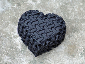 Gyroid Heart Box With Lid in Black Natural Versatile Plastic
