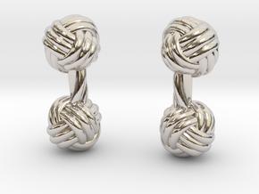 Silk Knot Cufflinks in Rhodium Plated Brass