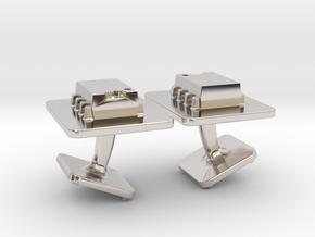 555 Timer Cufflinks in Rhodium Plated Brass