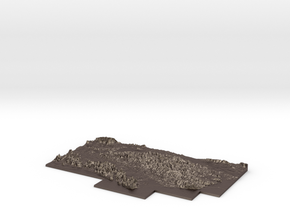 W500 S50 E 600 N150 Relief Map in Polished Bronzed Silver Steel
