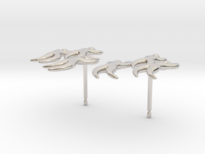 Dan's 'Dancing Figures' Earrings in Rhodium Plated Brass