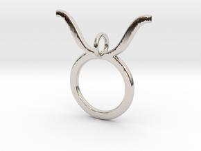 Taurus Symbol Pendant in Rhodium Plated Brass