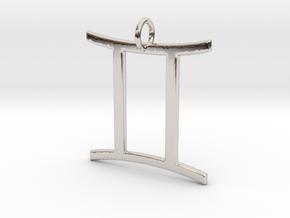 Gemini Pendant in Rhodium Plated Brass