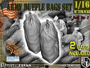 1-16 Army Duffle Bags Set1 in White Natural Versatile Plastic