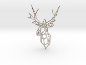 Stag Deer Facing Forward Pendant  in Platinum