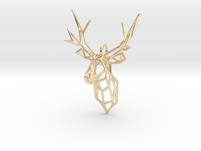 Stag Deer Facing Forward Pendant  in 14k Gold Plated Brass