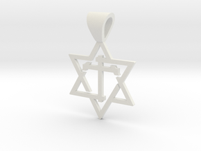 Star of David with the Cross in White Strong & Flexible