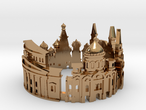 Moscow Skyline - Cityscape Ring in Polished Brass: 6 / 51.5