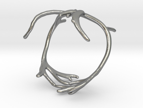 Reindeer Antler Ring in Natural Silver: 6 / 51.5