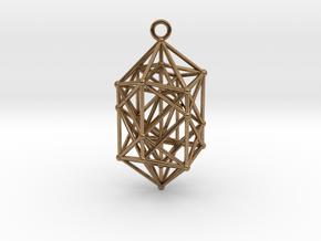 Hyperdiamond Crystal - 4D 24 Cell pendant in Natural Brass