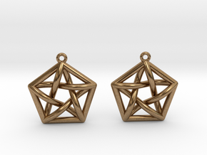 Complete Graph Earrings (K_5) in Raw Brass