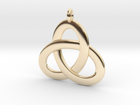 2.5D Open Triquetra Pendant 4.5cm in 14k Gold Plated Brass