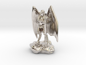 Aarakocra in Leather with Staff, Mace, & Crossbow in Rhodium Plated Brass