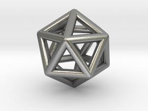 Icosahedron Golden Ratio Pendant in Natural Silver