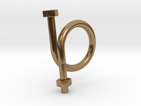 Long Bolt Ring in Natural Brass