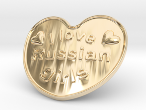 I Love Russian Girls in 14k Gold Plated Brass